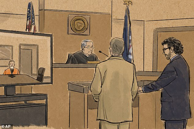 In this courtroom sketch, former Minneapolis police officer Derek Chauvin appears in on closed-circuit television from a maximum security prison