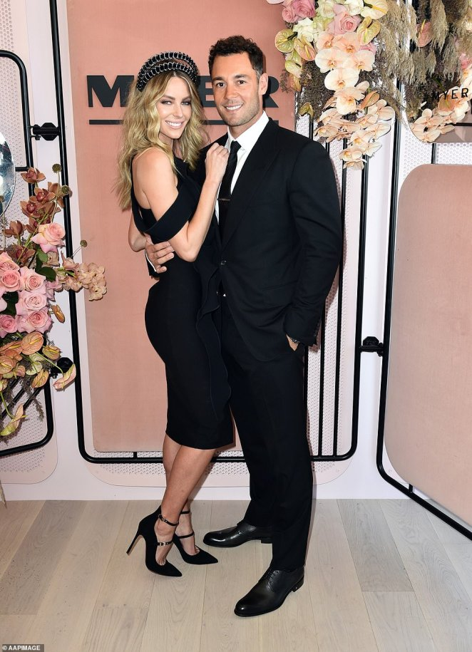 REVEALED:How Australian supermodel Jennifer Hawkins (left) and her property developer husband Jake Wall (right) spent six years transforming a bleak dusty site into a $20million mega-mansion paradise. Pictured in 2016