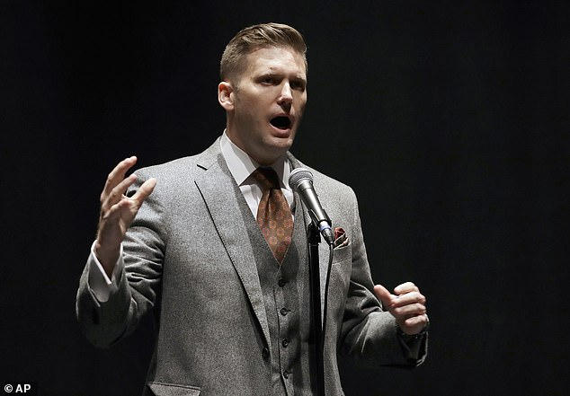 YouTube banned several well-known white supremacist channels, including those belonging to Richard Spencer (pictured), David Duke and Stefan Molyneux.  Spencer's National Policy Institute has been said to be a white supremacist think tank for those in the alt-right