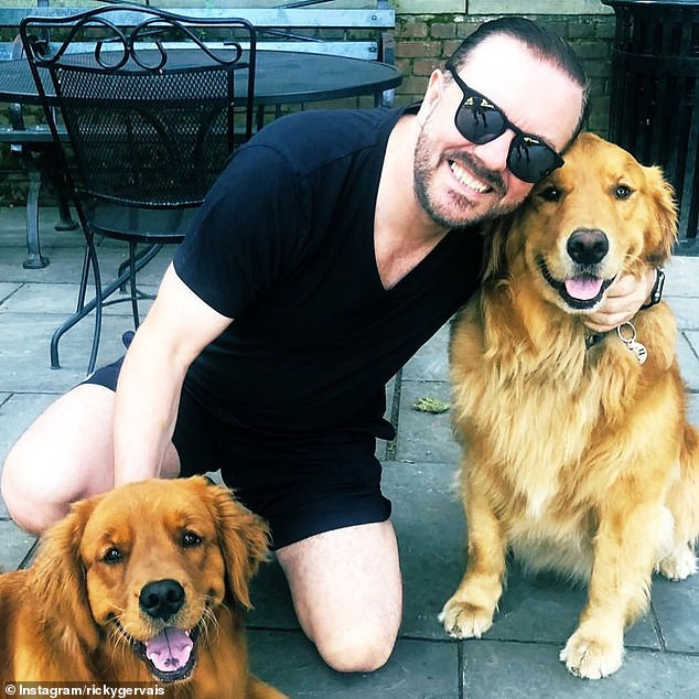 Animal lover:Ricky Gervais, 59, has shown his support for a ban on puppy imports