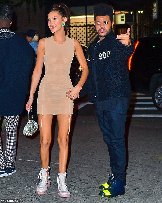 On and off:Bella Hadid and The Weeknd, shown in November 2018 in New York City, were in an on-off relationship from 2015 to 2019 and reportedly have kept in touch since their last split nine months ago