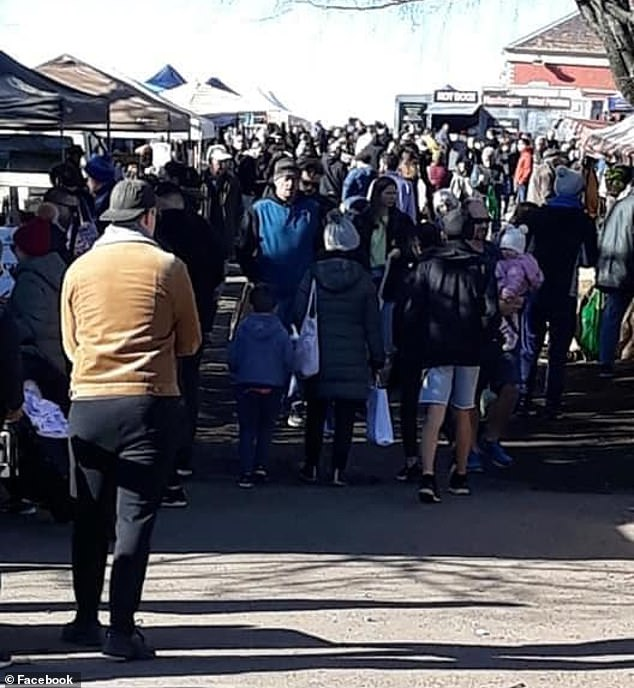 The images (one pictured) were shared on Facebook by Labor MP Mary-Anne Thomas, with many commentators expressing outrage over market-goers deliberately ignoring safety directives