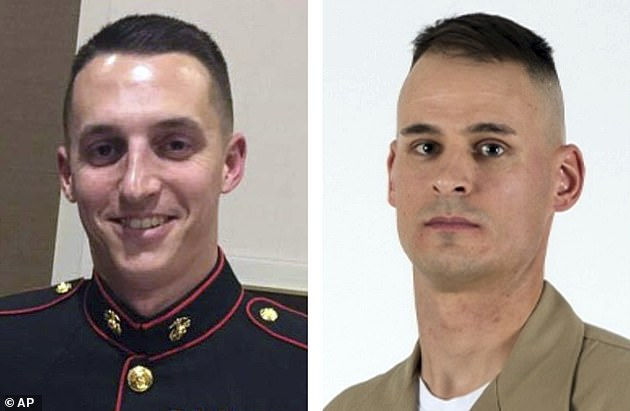 Sgt. Benjamin S. Hines, 31, (left) and Staff Sgt. Christopher K.A. Slutman, 43, (right) were  also killed in the bomb attack in April 2019