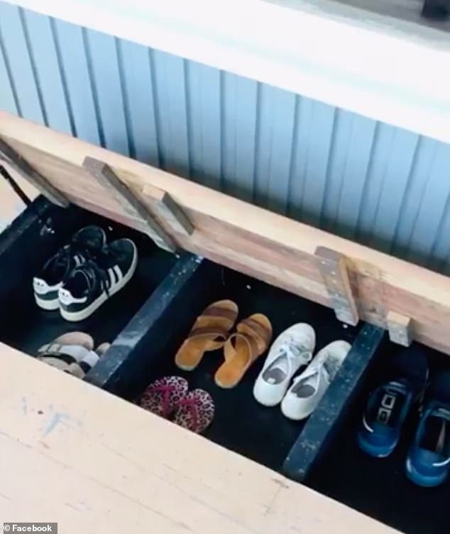 Having a handyman around sure if helpful: 'Hubby built in storage for our shoes on the porch. No shoes at the front door anymore'