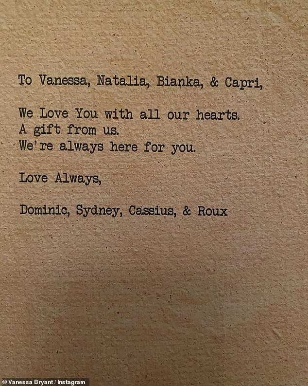Note: Vanessa also shared the note Leroux and Dwyer sent which read, 'To Vanessa, Natalie, Bianka, & Capri, We love you with all our hearts. A gift from us. We're always here for you. Love always, Dominic, Sydney, Cassius & Roux'