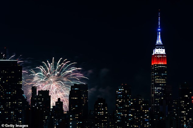 A view of the fireworks could be seen from Manhattan's west sided (pictured)