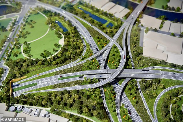 The model pictured shows the new WestConnex M5 junction at the St Peters interchange (pictured)