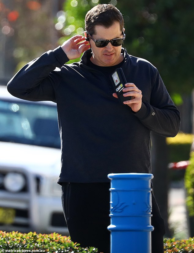 The 45-year-old made a long phonecall as he trekked through the suburbs a long way from the $2 million Frenchs Forrest home he recently shared with his girlfriend