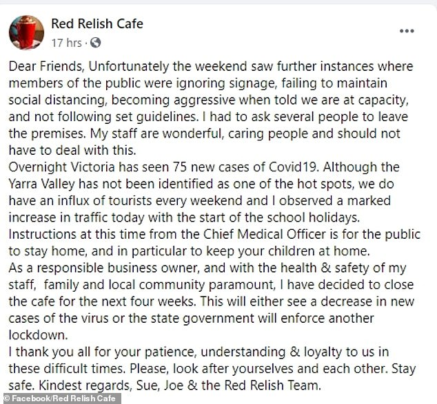 The cafe's owner, Sue Cordina, took to Facebook (pictured) to say she was concerned about her 'wonderful and caring staff'