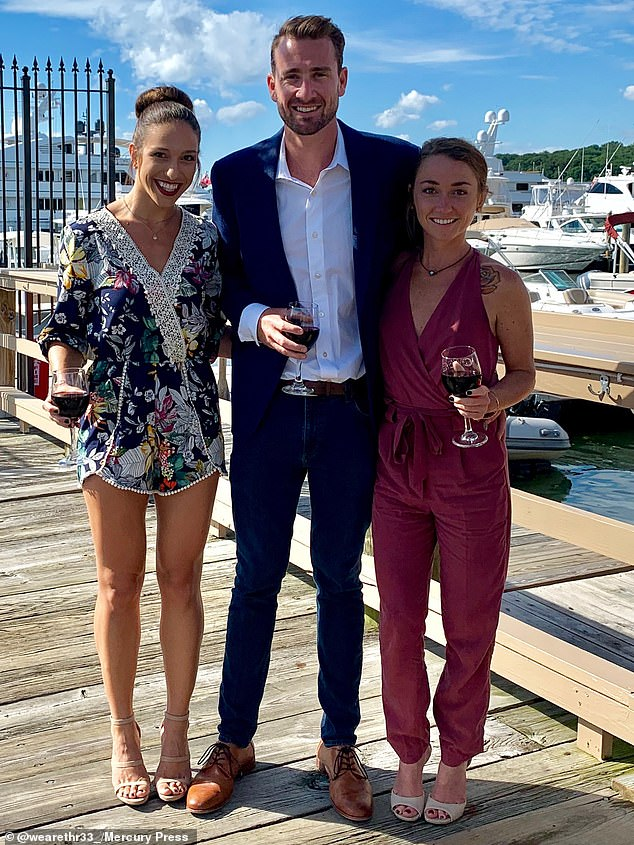 Lo, 30, and Mike Taylor, from Denver, Colorado, (left and centre) became a throuple after a one-night threesome with their now girlfriend, Jess Woodstock, 31, (right) with the trio now expecting a baby together