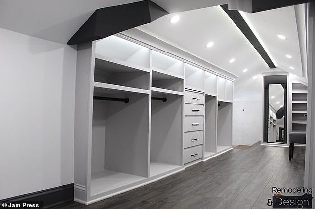 Rodolfo installed the shelves, made out of wooden planks, and painted the entire room in various shades of grey
