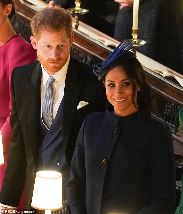 Meghan Markle 'embarrassed' Prince Harry after divulging she was pregnant during Princess Eugenie's wedding day (pictured at the event together), according to the book