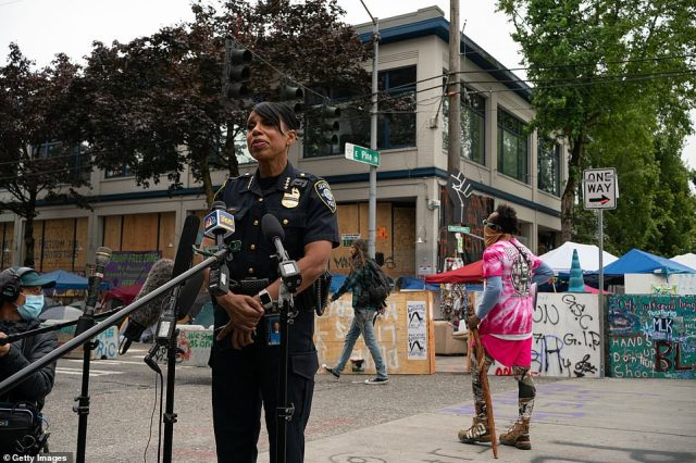 "Seattle Police Chief Carmen Best holds a press conference outside of the departments vacated East Precinct in the area known as the Capitol Hill Organized Protest (CHOP) on June 29, 2020 in Seattle, Washington. ""Enough is enough,"" she said"