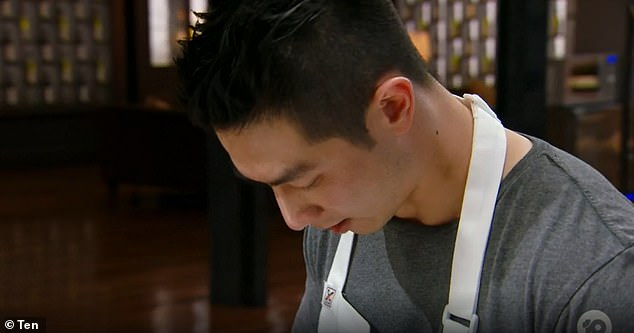 Love bite? On Tuesday's episode of MasterChef Australia: Back To Win, contestant Reynold Poernomo (pictured) had an unusual mark on his neck