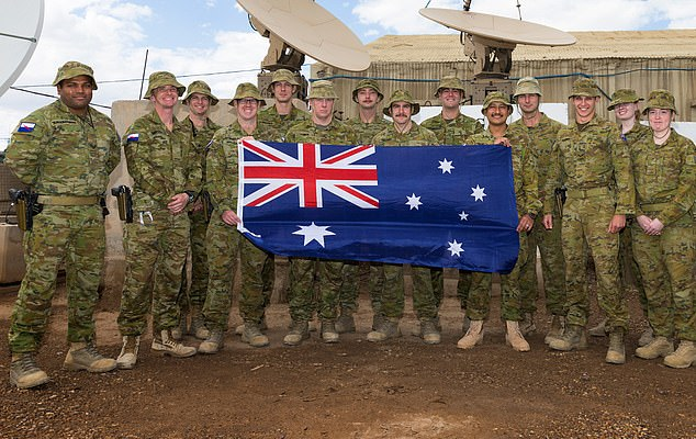Australian Defence Force personnel, deployed with Theatre Communications Group 8, at the Taji Military Complex, Iraqi