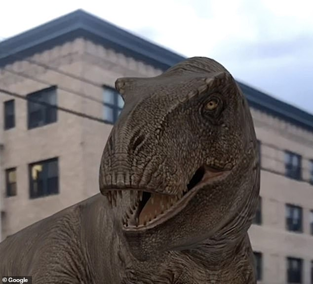 Google has launched 10 new augmented reality dinosaur filters for Android and iOS users to enjoy — including Tyrannosaurs rex (pictured), Stegosaurus and Velociraptor