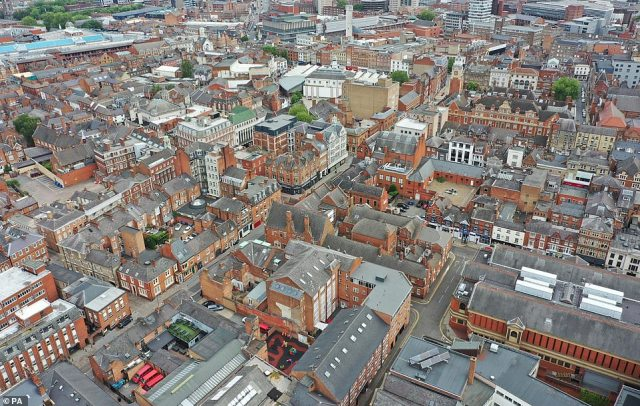 An aerial view of the east of Leicester, which has seen a spike in cases in its tight terraced streets that has led to lockdown being extended for two weeks