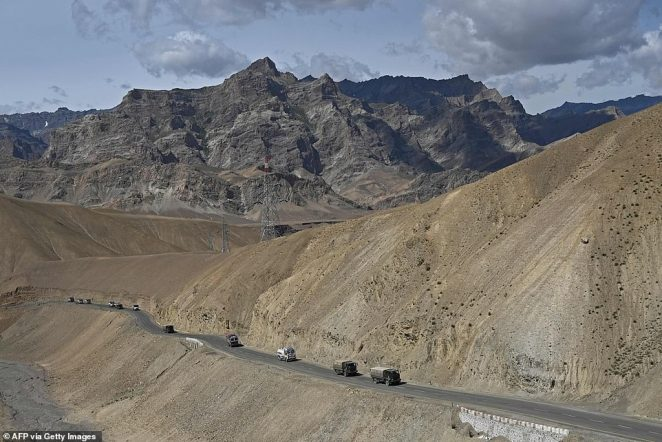 An Indian convoy moves into the mountainous region amid standoffs with China at multiple points along its poorly marked border