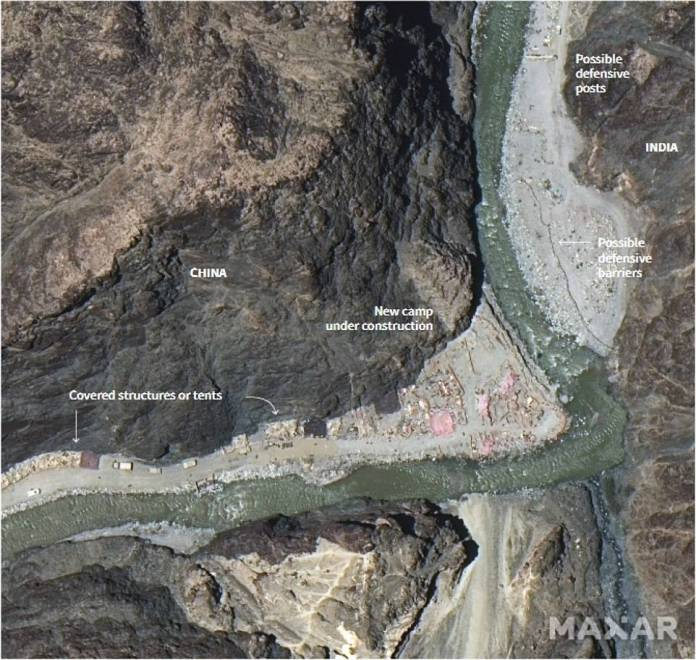 The lake is 75 miles south of the Galwan Valley, where 20 Indian soldiers were killed in clashes with the Chinese earlier this month, and where China is also building new camps (photo)