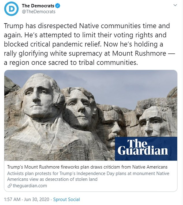 In the since deleted Tuesday morning tweet, the DNC took Trump to task for the series of grievances he has enacted against indigenous communities in the United States
