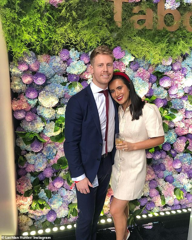 Western Bulldogs premiership player Lachie Hunter has been charged over an alleged drink-driving car crash in Melbourne (pictured with his fiancéeMaddie Sullivan-Thorpe)