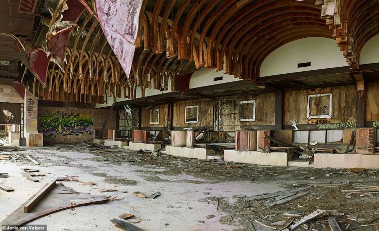 This is what is left of the ballroom inside theGoričina Hotel after four years of fighting and decades of neglect and looting
