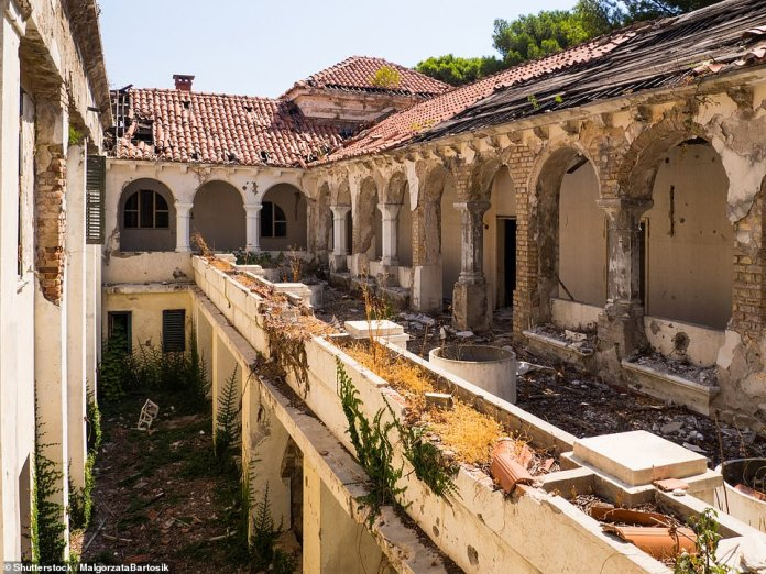 The crumbling courtyard inside the Grand Hotel - which was one of the most opulent in Kupari