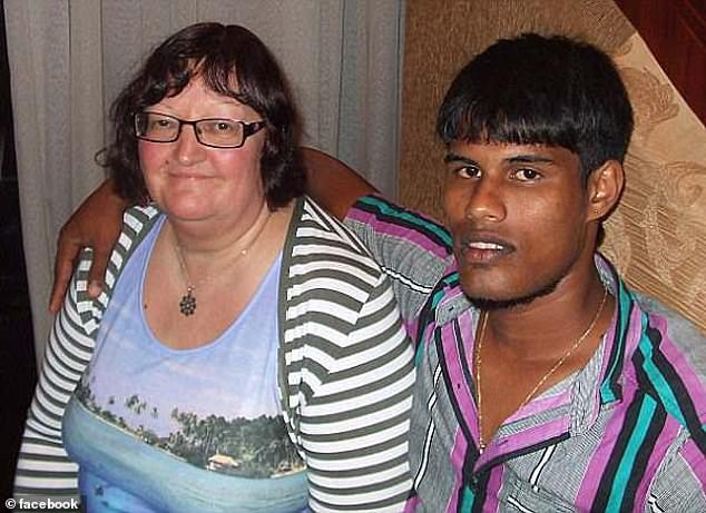 Ms Peebles fell in love with hotel worker Priyanjana De Zoysa (pictured together), who was 33 years her junior, in 2011 and married him in Sri Lanka seven months after meeting him