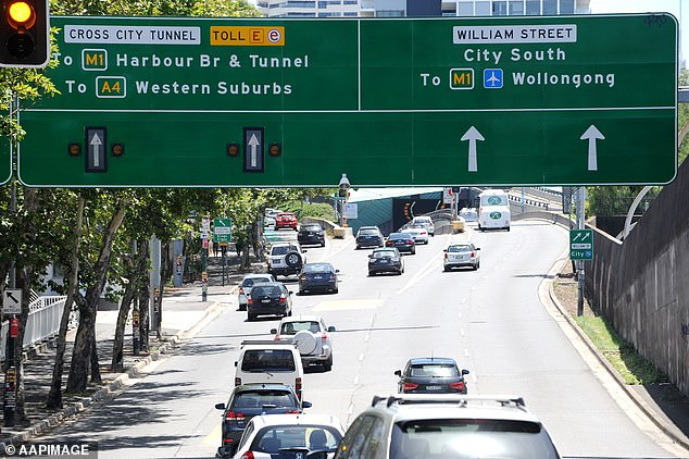 In Sydney, tolls for for the Cross City Tunnel, Eastern Distributor, Hills M2 and Lane Cove Tunnel will increase. Pictured: The entry to Cross City Tunnel in Sydney