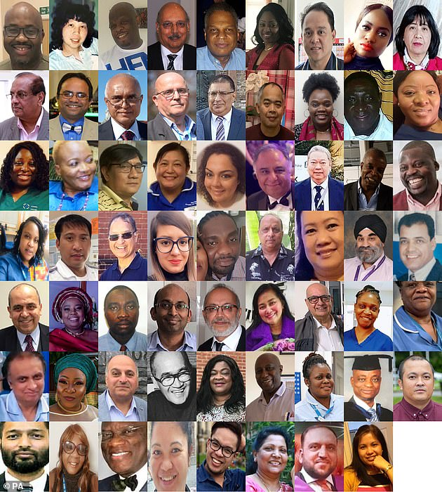 At least 300 healthcare staff have died from coronavirus so far, and people from black and ethnic minority groups have been disproportionately affected. Pictured are some of the BAME healthcare staff who fell victim to the disease