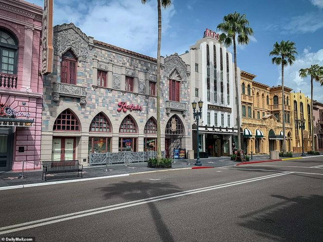 Universal Studios Florida is seen with less patrons than usual as new Covid-19 cases surge to record highs throughout Florida