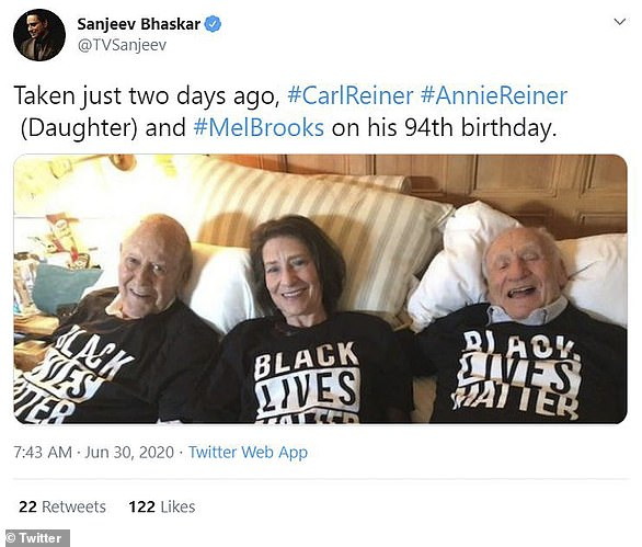 'Taken just two days ago': Sanjeev Bhaskar, 56, shared a sweet photo of Carl with Mel Brooks and daughter Annie as they all sported Black Lives Matter shirts