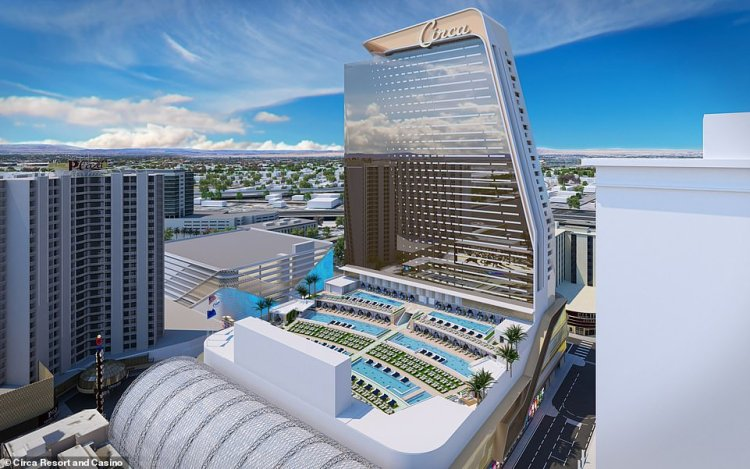 The pool area will have six temperature-controlled pools on different levels and two spas, as well as private cabanas