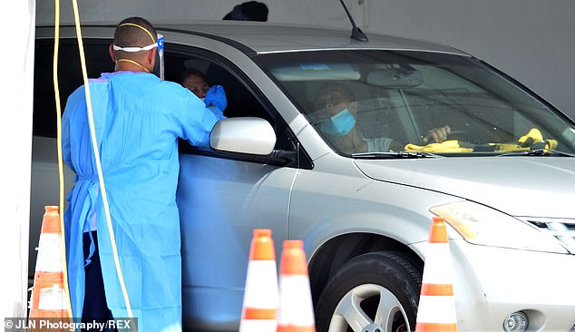 However, states including Florida and Texas are testing far fewer people than needed, and both have recently had to roll back reopenings. Pictured: A healthcare worker takes a swab sample from a driver to administer a coronavirus test at a testing site in the parking lot of Hard Rock Stadium in Miami Gardens, Florida, June 29
