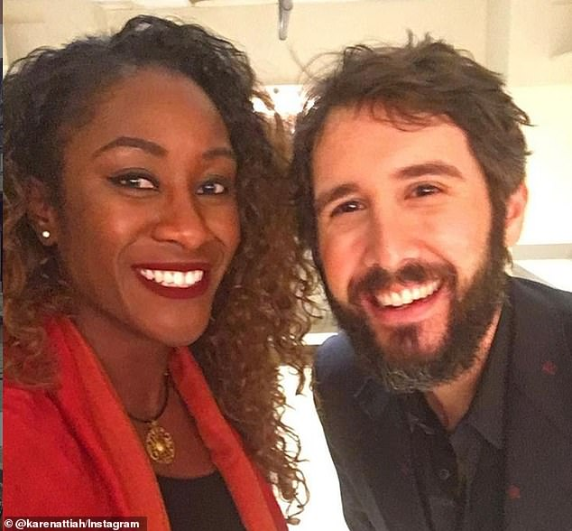Attiah's Instagram shows her posing for selfies with a number of prominent celebrities. She giddily posted this snap with Josh Groban, writing:'Omg. It happened. I have no words'