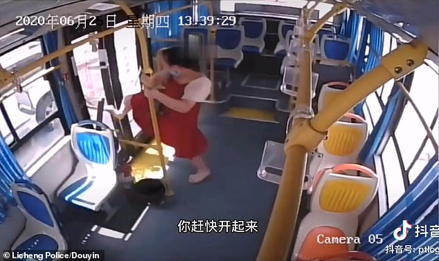 She also tries to kick open the doors after realising she has gone past her stop while asleep