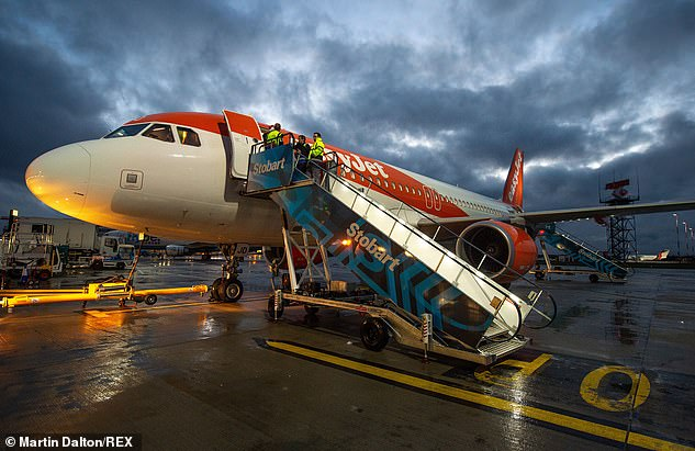 EasyJet aircraft pictured at London Southend Airport in Essex today