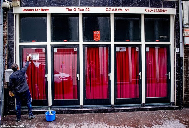 Pictured: A man in Amsterdam's red light district cleans the glass doors of rooms rented by prostitutes in the city as it prepares to reopen to sex workers on July 1
