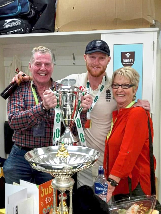Ben Stokes with dad Ged and mum Deb after winning the 2018 Test series against India