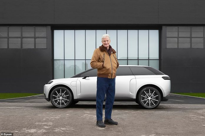 Sir James Dyson poses in front of the Dyson electric SUV ready for production - project dubbed 'N526' - which was halted last year after Britain's wealthiest man said it was not commercially viable