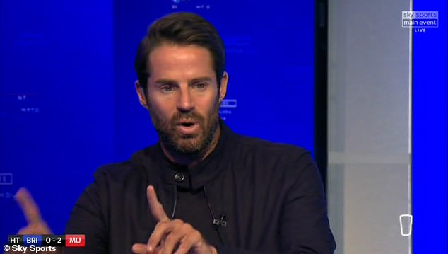 Pundits Jamie Redknapp, pictured, and Patrice Evra were not wearing Black Lives Matter badges when appearing on tonight's show on Sky Sports