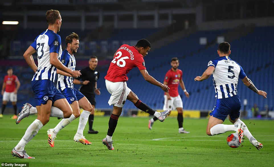 Greenwood's sixth goal of the season is most by United teenager in one Premier League campaign since Wayne Rooney in 2004