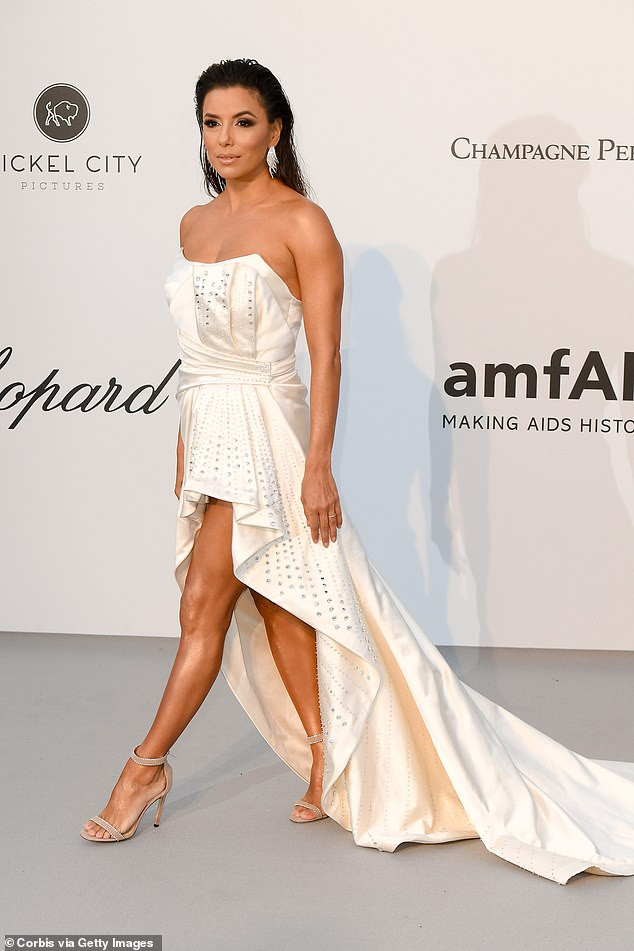 Strike a pose: Eva Longoria was a vision of glamour in Cannes Gala of amfAR in 2019