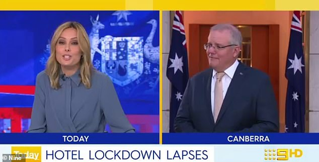 The Prime Minister appeared to be oblivious he was already on air during a live cross to the Today Show's Allison Langdon