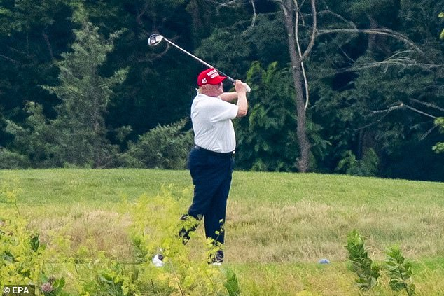 Joe Biden went after President Trump (pictured) for golfing. Trump spent both Saturday and Sunday at his Virginia golf club after cancelling a planned trip to his Bedminster, New Jersey facility