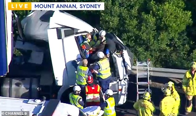 Pictured: Rescue crews working to free a trapped driver after a two-truck crash caused chaos on the roads in Sydney's far south-west