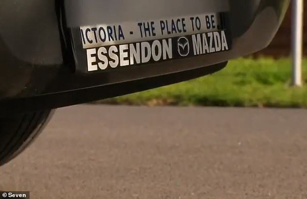 A Melbourne man was abused by a local woman in Daylesford, 112km northwest of Melbourne, after she spotted the Essendon Mazda sticker (pictured) on the bumper of his car