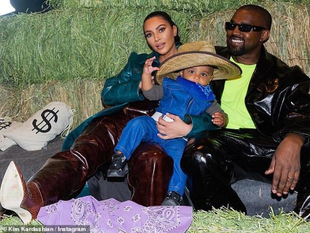 Celebration: The family celebrated the news, along with daughter North's seventh birthday, while vacationing at their Wyoming Ranch