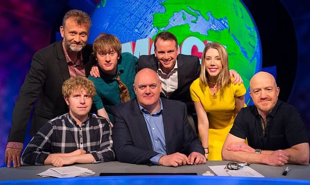 Katherine Ryan (second from right) pictured on Mock the Week - before she left the show - pictured along-side a number of male comedians including host DaraO'Briain (bottom middle) andHugh Dennis (top-left)