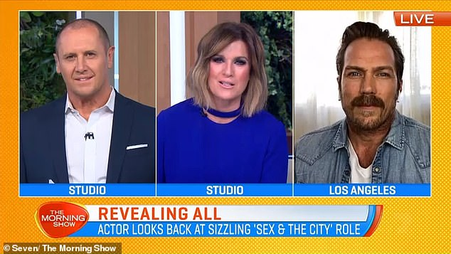 'I think it starts with the title': Jason (right) spoke to hosts Larry Emdur (left) and Kylie Gillies (centre) about why Sex and the City is still popular today